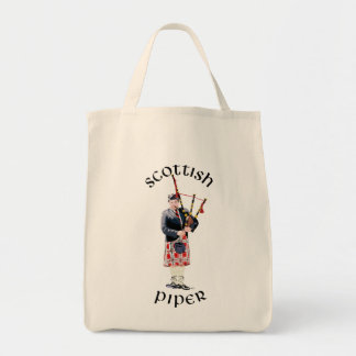 Bagpipe Player in Red Kilt Grocery Tote Bag