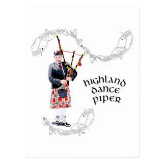Bagpipe Player in Red Kilt Postcard