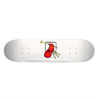 Bagpipe, red and brown graphic image design skateboard