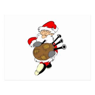 Bagpipe Santa Postcard