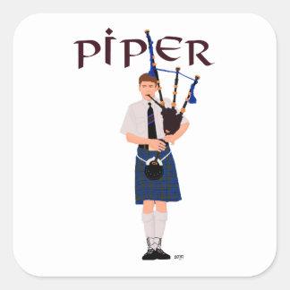 Bagpiper - Blue Kilt Square Sticker
