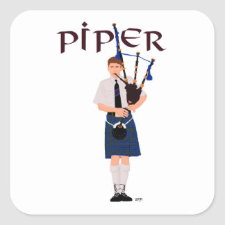 Bagpiper - Blue Kilt Square Stickers