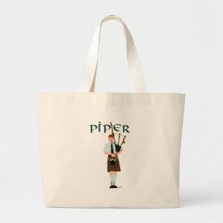Bagpiper - Brown Kilt Tote Bags