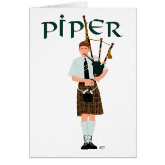 Bagpiper - Brown Kilt Card