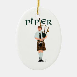 Bagpiper - Brown Kilt Ceramic Ornament