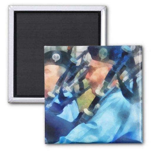 Bagpiper Closeup 2 Inch Square Magnet