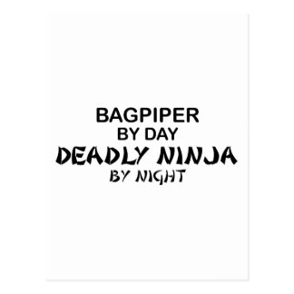Bagpiper Deadly Ninja by Night Postcard