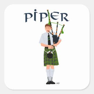 Bagpiper - Green Kilt Square Sticker