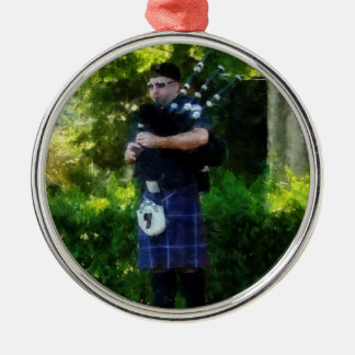 Bagpiper Round Metal Christmas Ornament