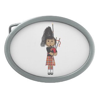 Bagpiper Oval Belt Buckle