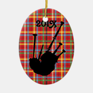 Bagpiper Personalized Bagpipe Plaid Music Ornament