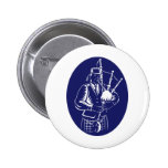 Bagpiper Playing Scottish Great Highland Bagpipe Pinback Button