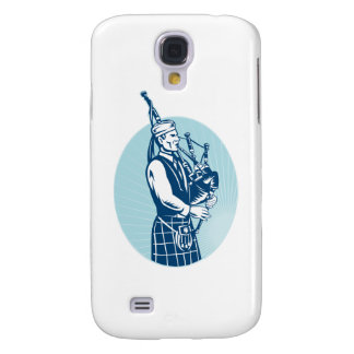 Bagpiper Playing Scottish Great Highland Bagpipe Galaxy S4 Cases
