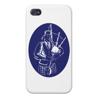 Bagpiper Playing Scottish Great Highland Bagpipe iPhone 4 Covers