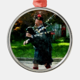 Bagpiper Profile Round Metal Christmas Ornament