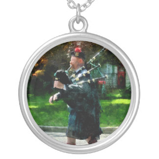 Bagpiper Profile Silver Plated Necklace