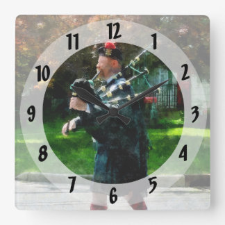 Bagpiper Profile Square Wall Clock