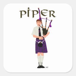 Bagpiper - Purple Kilt Square Sticker