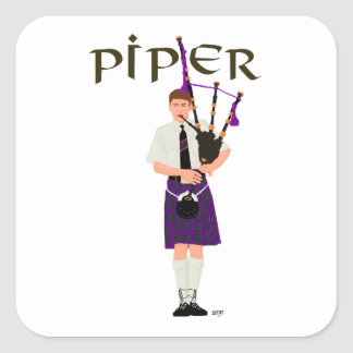 Bagpiper - Purple Kilt Stickers