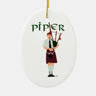 Bagpiper - Red Kilt Ceramic Ornament