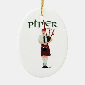 Bagpiper - Red Kilt Ceramic Ornament
