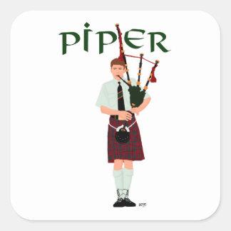Bagpiper - Red Kilt Square Sticker