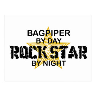 Bagpiper Rock Star by Night Postcard