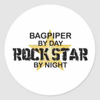 Bagpiper Rock Star by Night Round Stickers