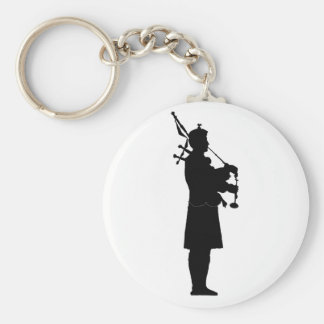 Bagpiper Silhouette Basic Round Button Keychain