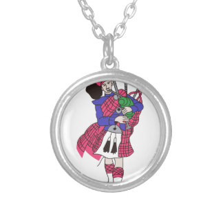 Bagpiper Silver Plated Necklace
