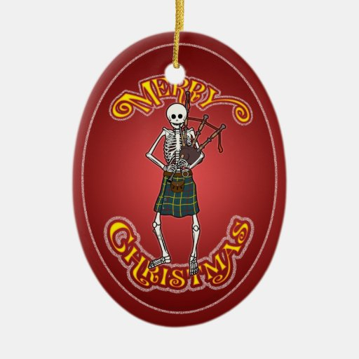 Bagpiper Skeleton Personalized Christmas Ornament