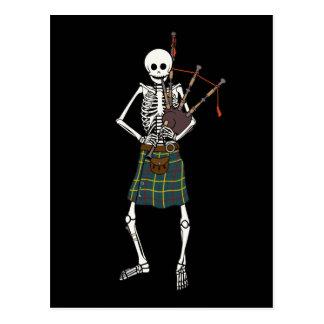 Bagpiper Skeleton Postcard