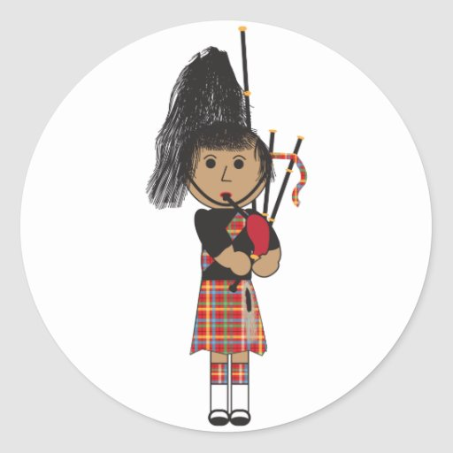 Bagpiper Round Stickers