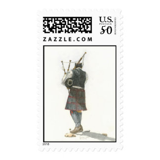 Bagpiper Watercolor Postage Stamp