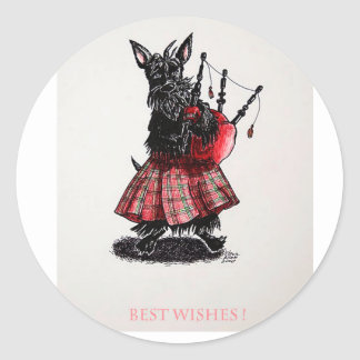 Bagpiper's best wishes classic round sticker