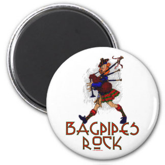 Bagpipes Rock! 2 Inch Round Magnet