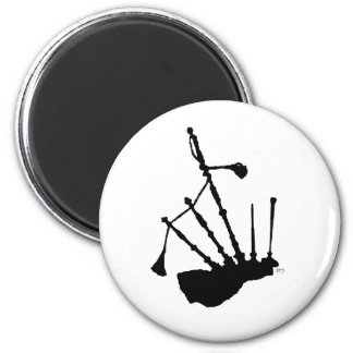 Bagpipes Silhouette 2 Inch Round Magnet
