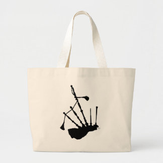 Bagpipes Silhouette Large Tote Bag