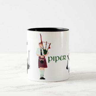 Bagpipes Silhouette Two-Tone Coffee Mug