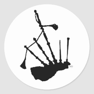 Bagpipes Silhouette Classic Round Sticker