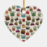 Bags Double-Sided Heart Ceramic Christmas Ornament