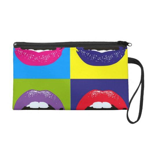 """baguette bag """"mouthes"""" wristlet purse"""