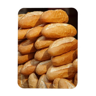 Baguette, bread, for sale in street by hawker. rectangular photo magnet