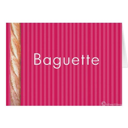 Baguette en la tapicería rosada francesa tarjeta de felicitación