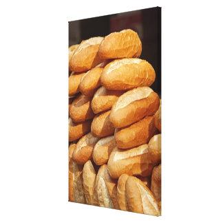 Baguette, pan, para la venta en calle del vendedor impresión en lienzo