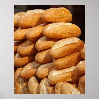 Baguette, pan, para la venta en calle del vendedor póster