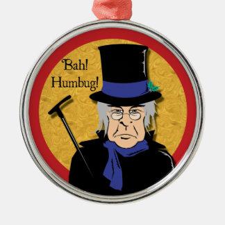 ¡Bah! ¡Embaucamiento! Ornamento de Scrooge Adorno Redondo Plateado