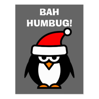Bah Humbug anti Christmas penguin cartoon postcard