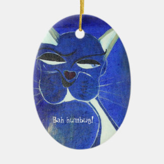 Bah Humbug Blue Cat Attitude Double-Sided Oval Ceramic Christmas Ornament