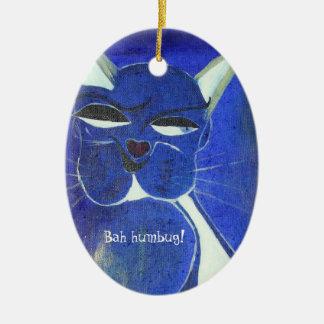 Bah Humbug Blue Cat Attitude Christmas Tree Ornaments